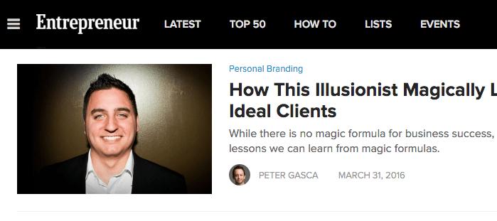 Photo of Chicago Corporate Magician David Ranalli in Entrepreneur Magazine