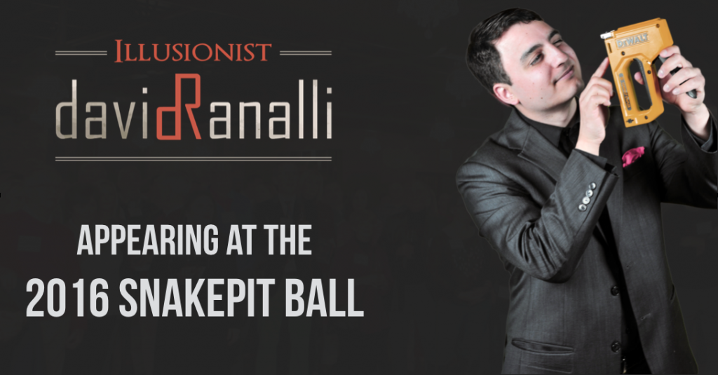 Magician David Ranalli appearing at the Snakepit Ball event in Indianapolis