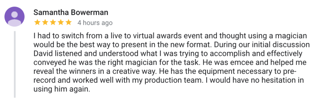 Virtual Event Magician Review